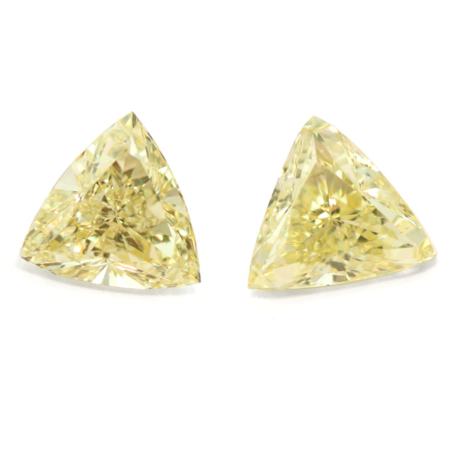 View 1.96 ct. Triangular Fancy Yellow (Pair)