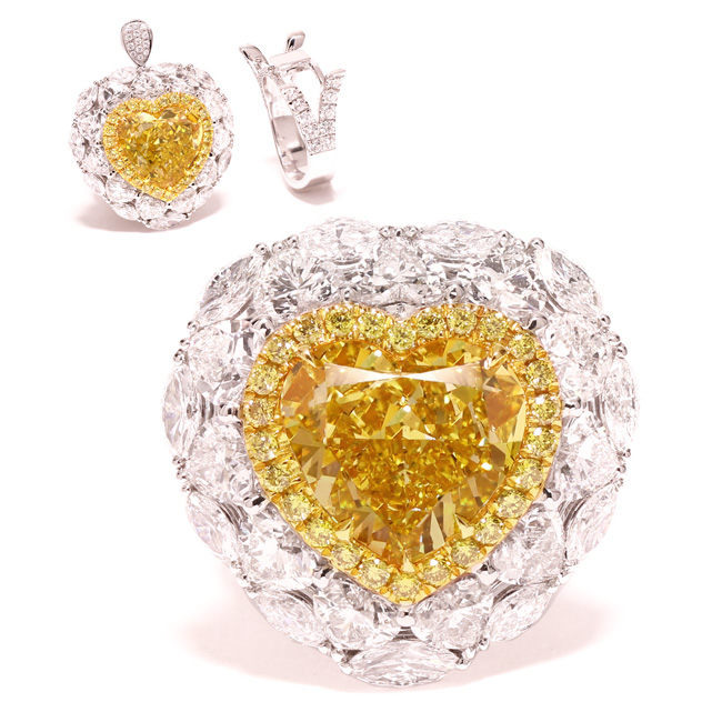 View 8.85 ct. Heart Shape Fancy Deep Yellow