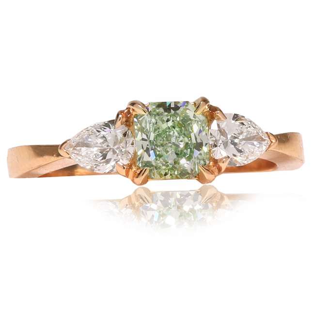 View 0.74 ct. Radiant Fancy Intense Green