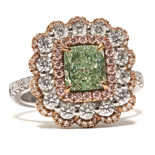 View 1.3 ct. Cushion Fancy Light y. Green