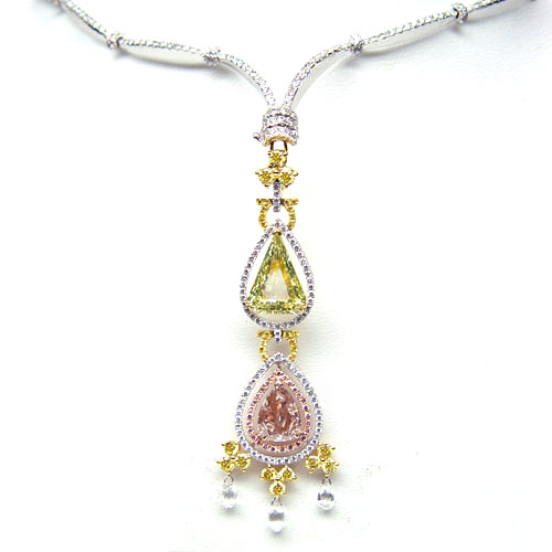 View Green-Yellow and Pink Diamond Necklace