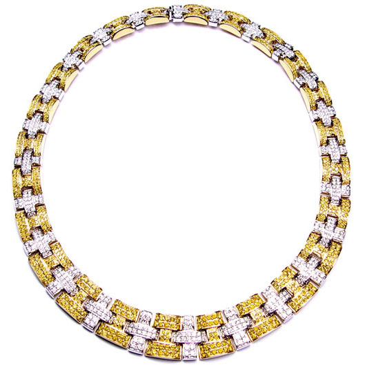 View Yellow and White Diamond Necklace