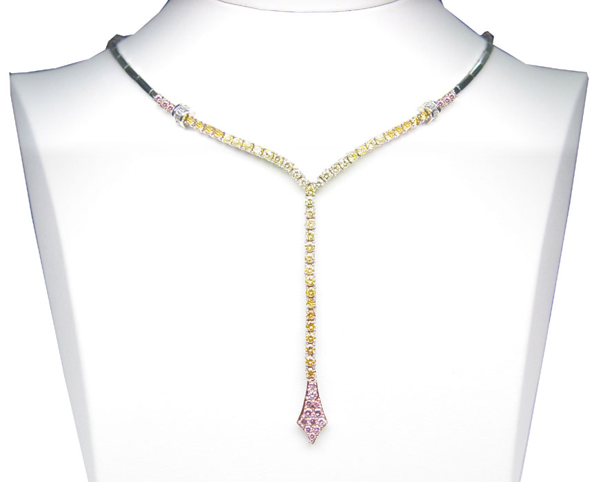 View Fancy Color Diamond Drop Necklace