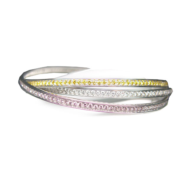 View Three in one - Yellow White and Pink Diamond Bangles