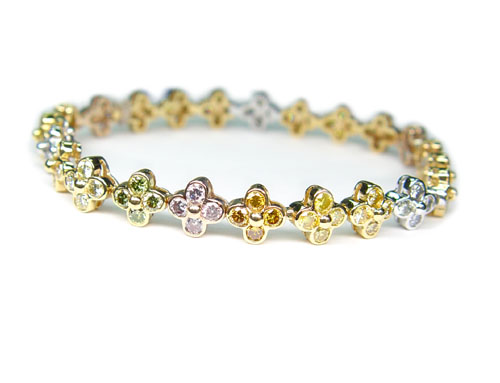 View Fancy Color Diamond Flower Bracelet