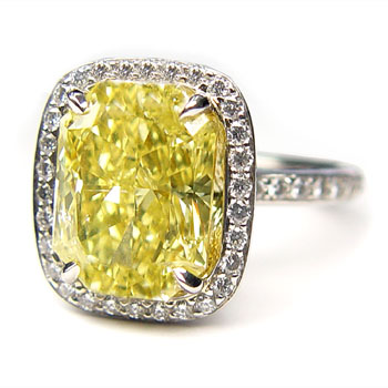 View 5.20ct Fancy Intense Yellow Diamond Ring