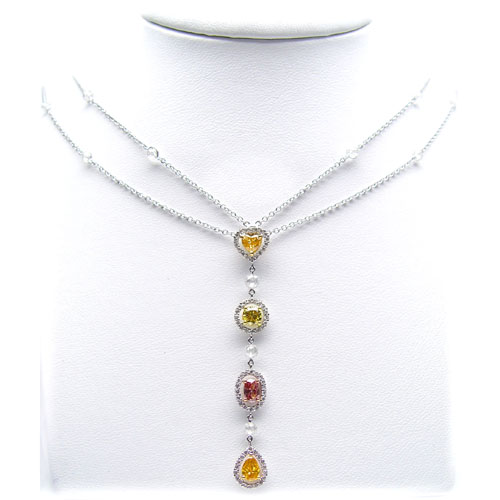 View 1.09ct Multicolor Fancy Shape Drop Necklace